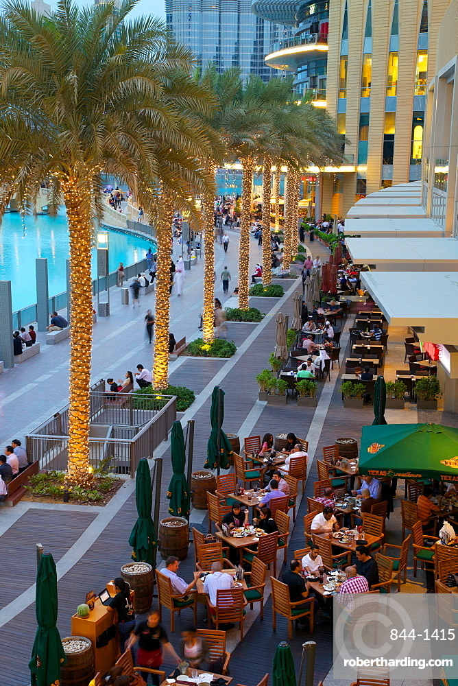 Restaurants near the Fountain, The Dubai Mall, Dubai, United Arab Emirates, Middle East