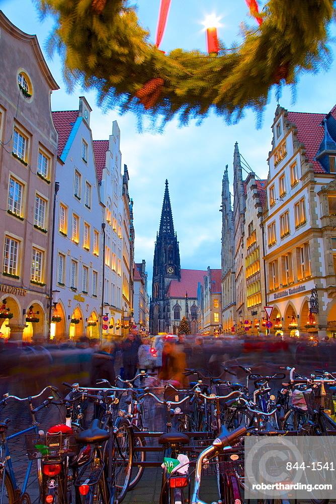 View of Prinzipalmarkt at Christmas, Munster, North Rhine-Westphalia, Germany, Europe