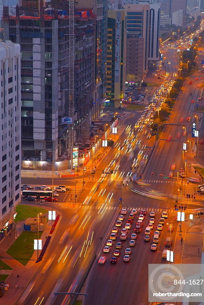 Rashid Bin Saeed Al Maktoum Street at dusk, Abu Dhabi, United Arab Emirates, Middle East