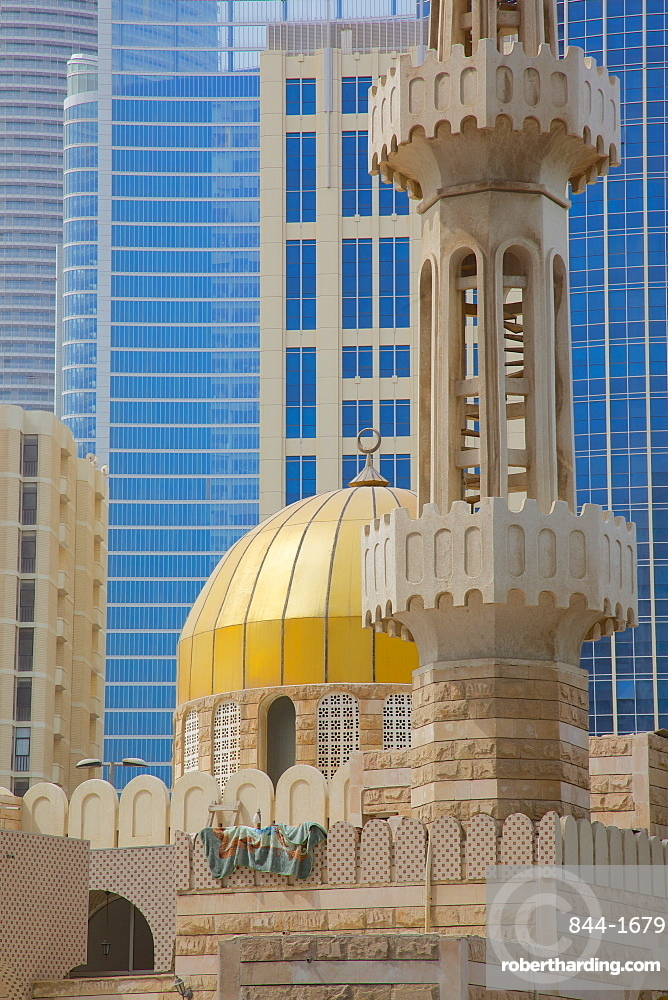 Mosque and contemporary architecture, Abu Dhabi, United Arab Emirates, Middle East