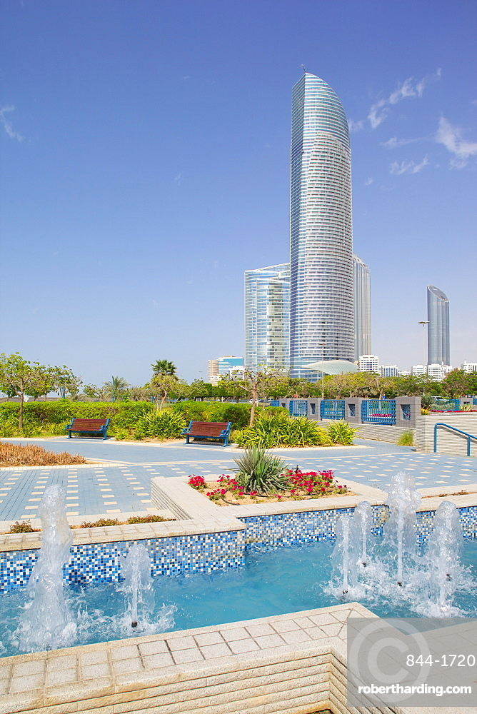 Contemporary architecture along the Corniche, Abu Dhabi, United Arab Emirates, Middle East