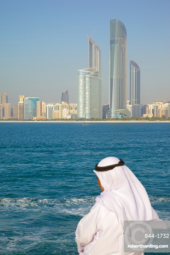 View of city from Marina and local resident, Abu Dhabi, United Arab Emirates, Middle East