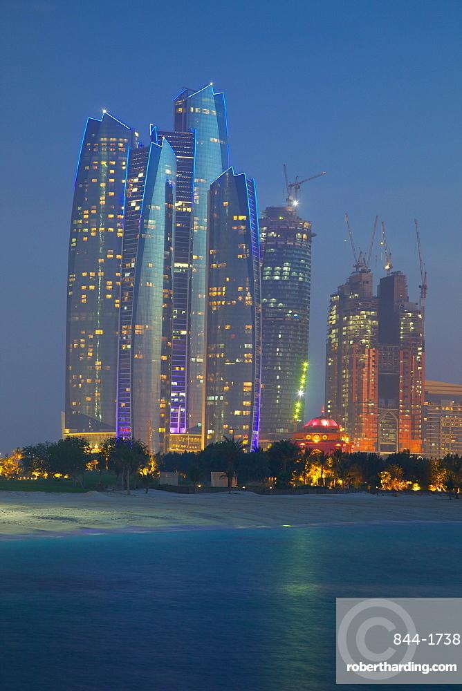 Emirate Towers at night, Abu Dhabi, United Arab Emirates, Middle East