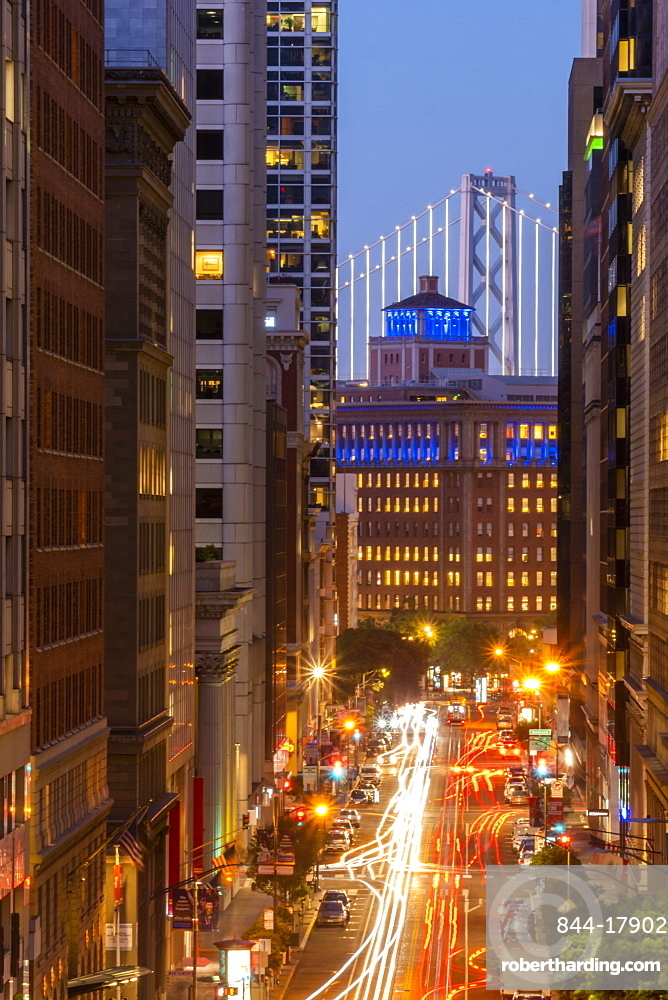 View of California Street and Oakland Bay Bridge at dusk, San Francisco, California, United States of America, North America