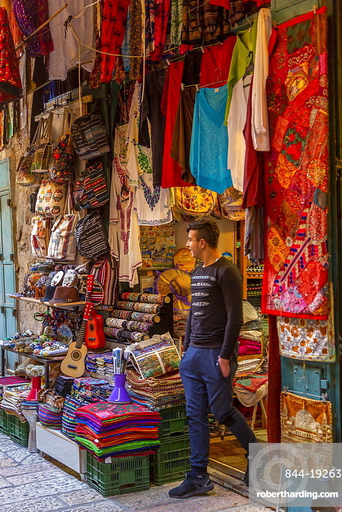 View of colourful shop in Old City, Old City, UNESCO World Heritage Site, Jerusalem, Israel, Middle East