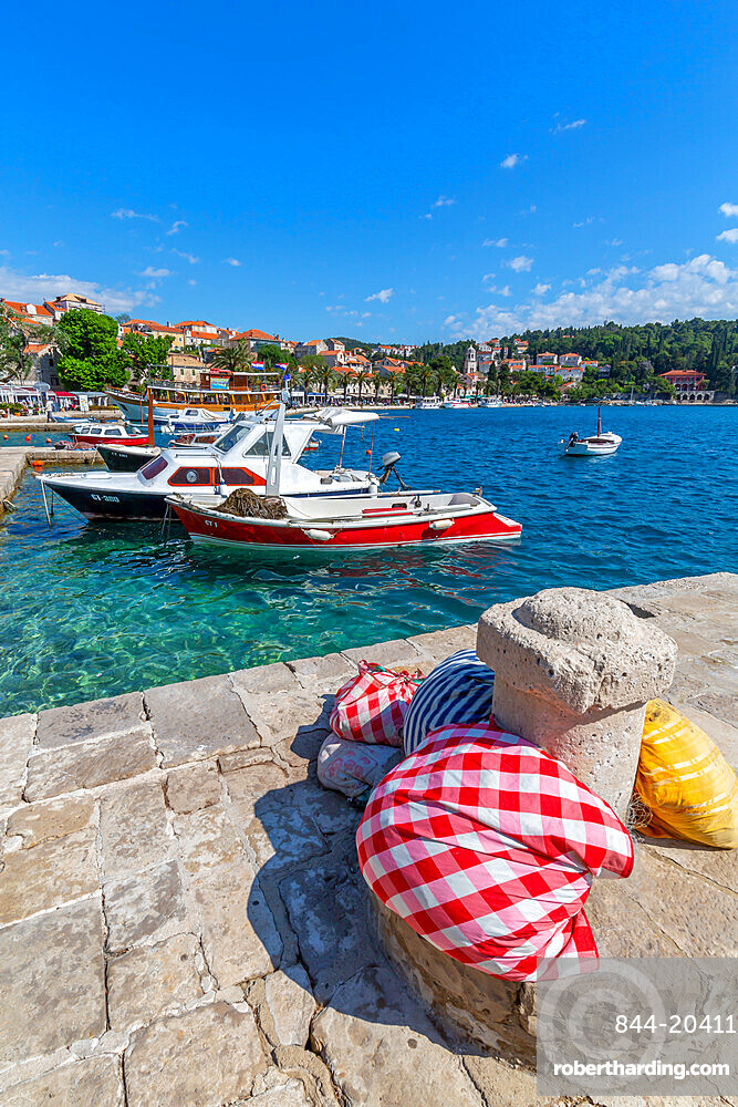 View of harbour boats and Cavtat on the Adriatic Sea, Cavtat, Dubronick Riviera, Croatia, Europe