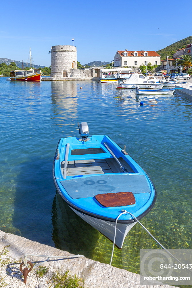 View of small harbour boats and restaurants in Mali Ston, Dubrovnik Riviera, Croatia, Europe