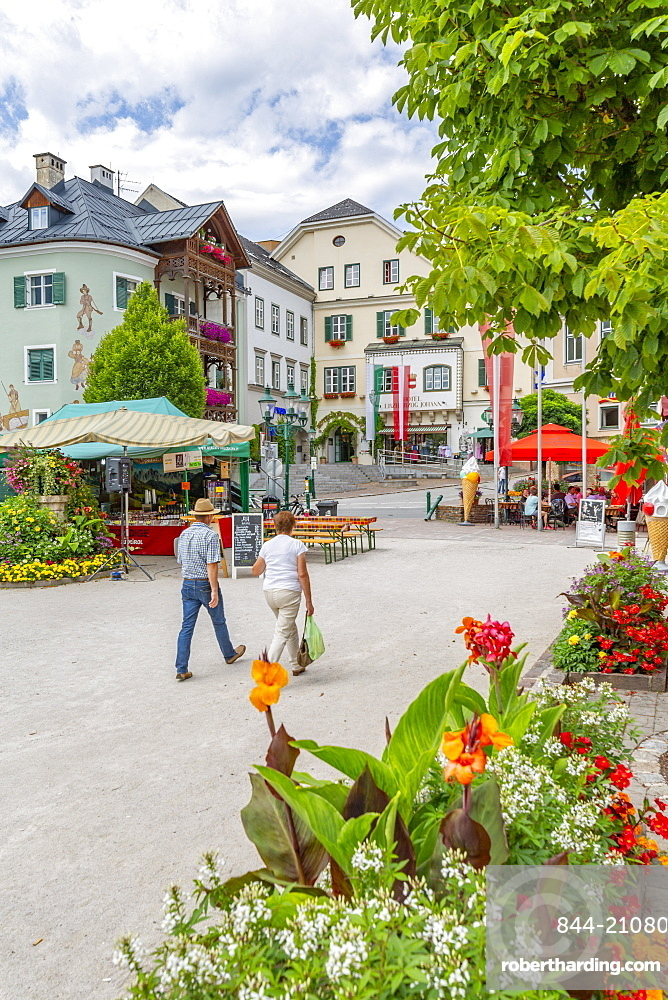 View of colourful buildings and flowers in Bad Aussie, Styria, Austria, Europe