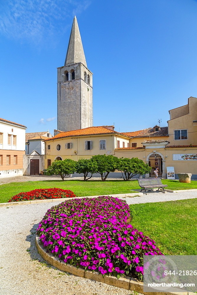View of old town with Basilica of Euphrasius, UNESCO World Heritage Site, Porec, Istria, Croatia, Europe