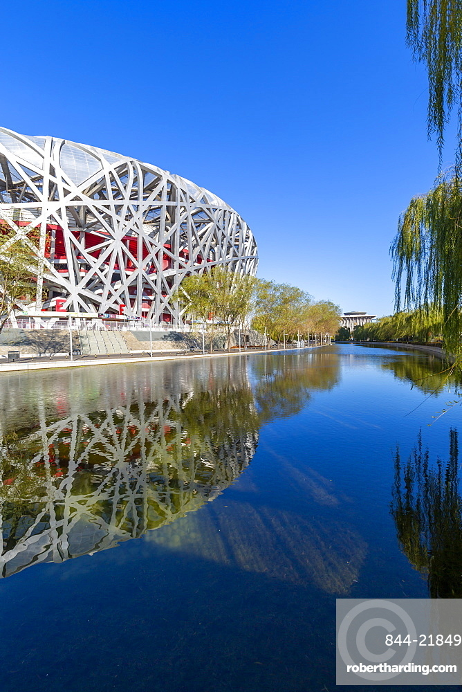 View of the National Stadium 'Bird's Nest' Olympic Green, Xicheng, Beijing, People's Republic of China, Asia