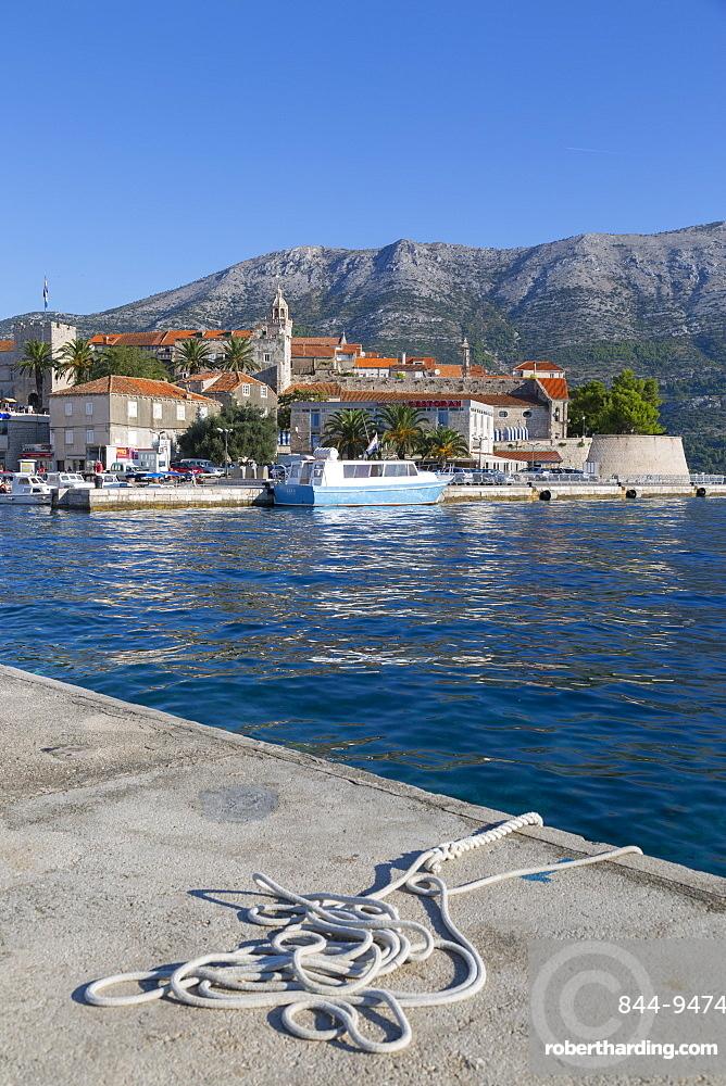 The Harbour and Korcula Town, Korcula, Dalmatia, Croatia, Europe