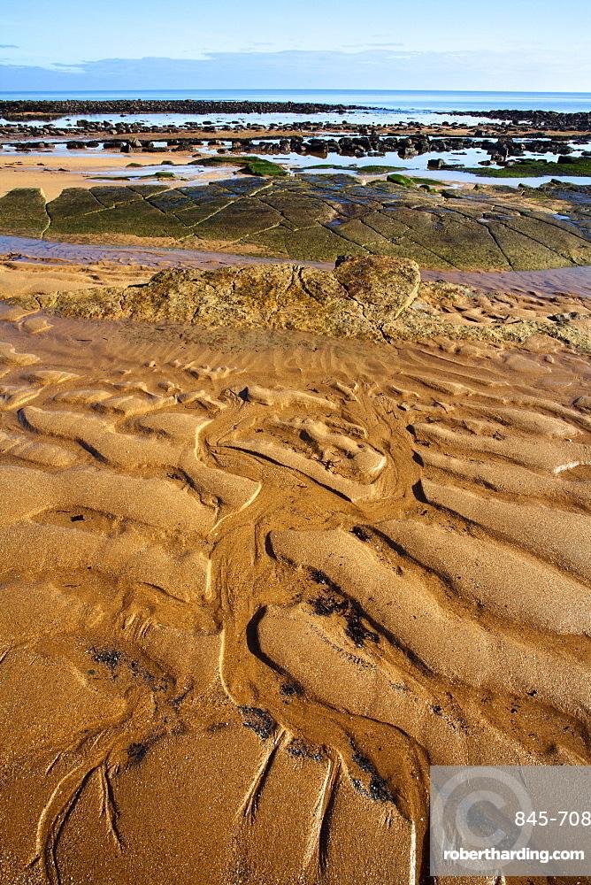 Sand patterns on the beach at Airbow Point near Kingsbarns on the Fife Coast, Fife, Scotland, United Kingdom, Europe