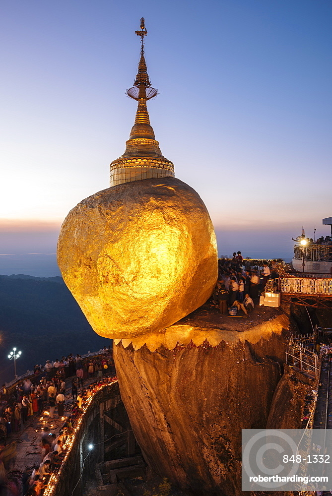 Mount Kyaiktiyo (Golden Rock) at twilight, Mon State, Myanmar (Burma), Asia