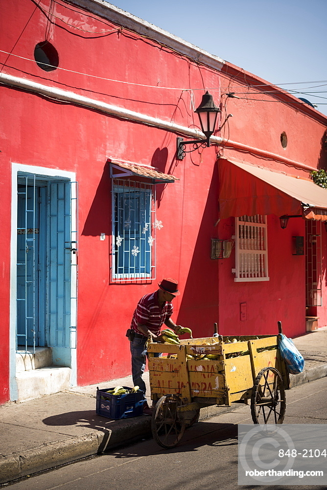 Fruit Seller, Getsemani Barrio, Cartagena, Bolivar Department, Colombia, South America