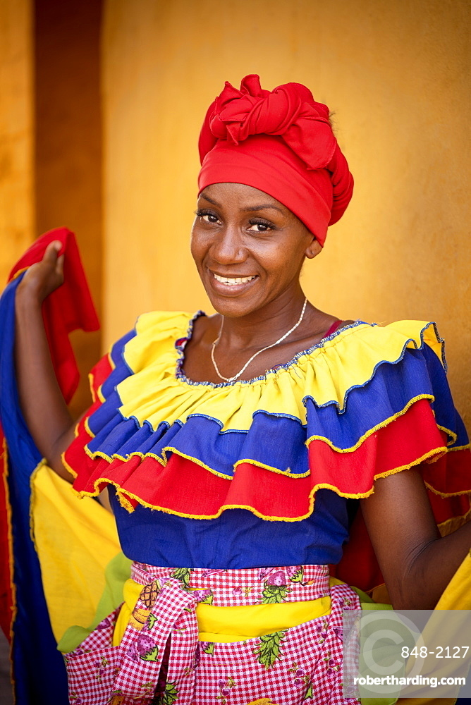 Portrait of Alexandra, Old Town, Cartagena, Bolivar Department, Colombia, South America