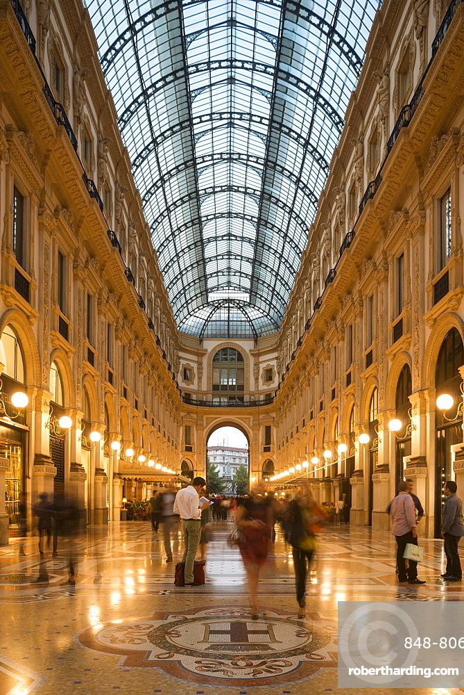 Interior of Galleria Vittorio Emanuele Shopping Mall, Milan, Lombardy, Italy, Europe