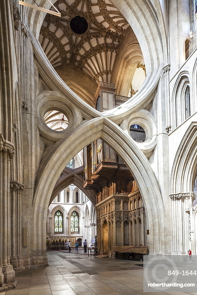 Dedicated to St. Andrew the Apostle, Wells Cathedral, the seat of the Bishop of Bath and Wells, Wells, Somerset, England, United Kingdom, Europe