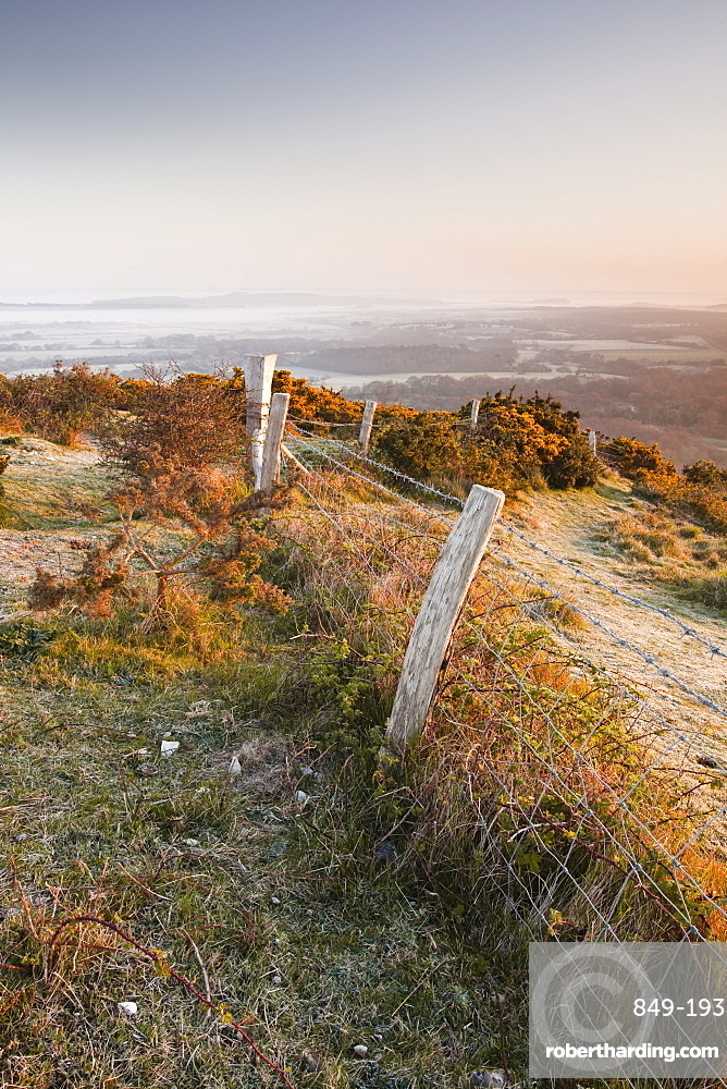 A misty dawn on the countryside surrounding Corfe Castle village, Dorset, England, United Kingdom, Europe