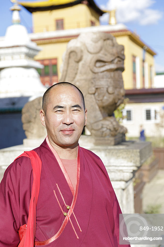 A Buddhist monk in Ulaanbaatar, Mongolia, Central Asia, Asia