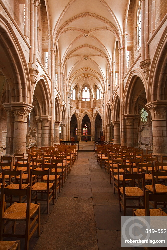The nave in the church of Notre Dame, Saint Pere, Yonne, Burgundy, France, Europe