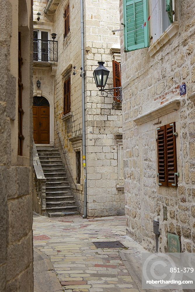 Street in historic old town of Kotor, Bay of Kotor, UNESCO World Heritage Site, Montenegro, Europe