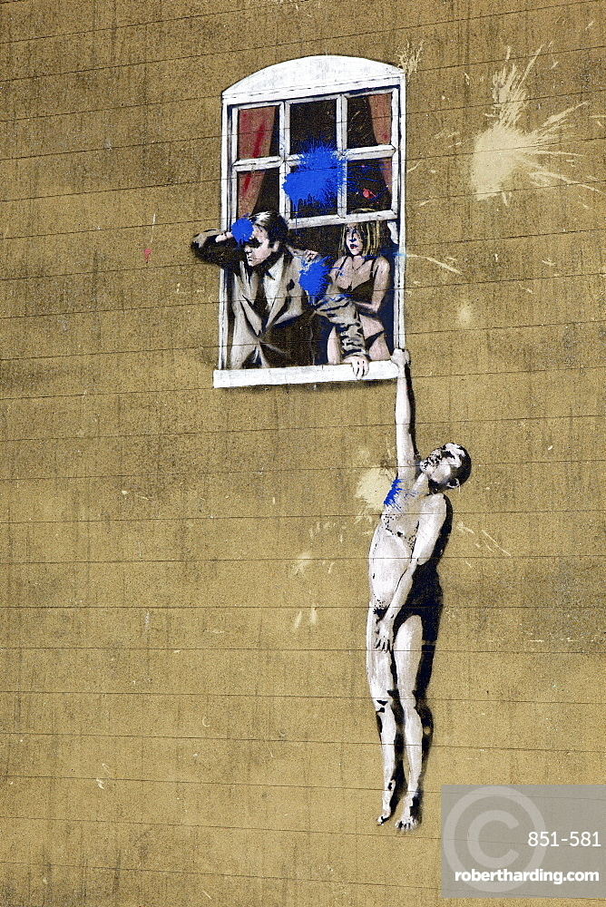 Adultery street art by the graffiti artist Banksy on Park Street in Bristol, England, United Kingdom, Europe