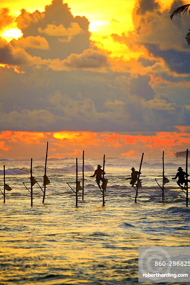 Stilt fishermen near the beach at sunset, traditional fishing, Weligama, Indian Ocean, Sri Lanka