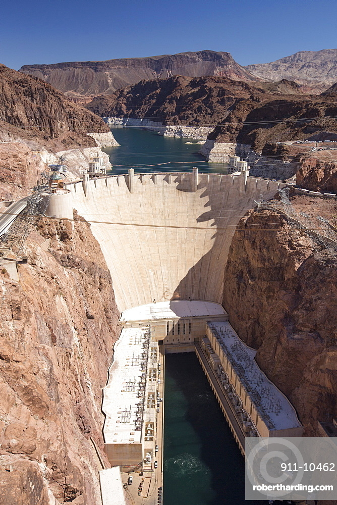 The Hoover Dam and Lake Mead hydro electric plant, which is at very low levels following a four year drought