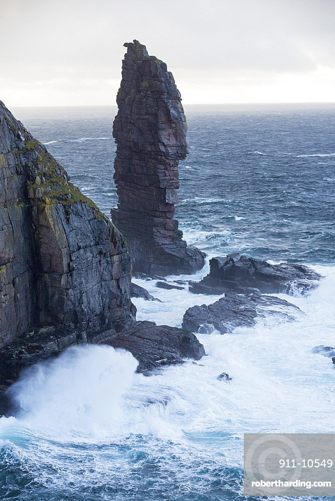 The Old Man of Stoer, a sea stack in Assynt, Scotland, UK.