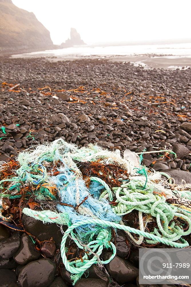 Plastic debris washed ashore at Talisker Bay on the Isle of Skye, Scotland, United Kingdom, Europe