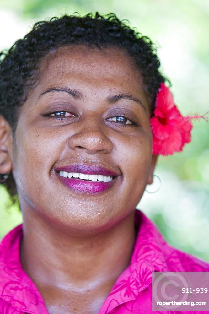 A Fijian women with a flower in her hair, Fiji, Pacific