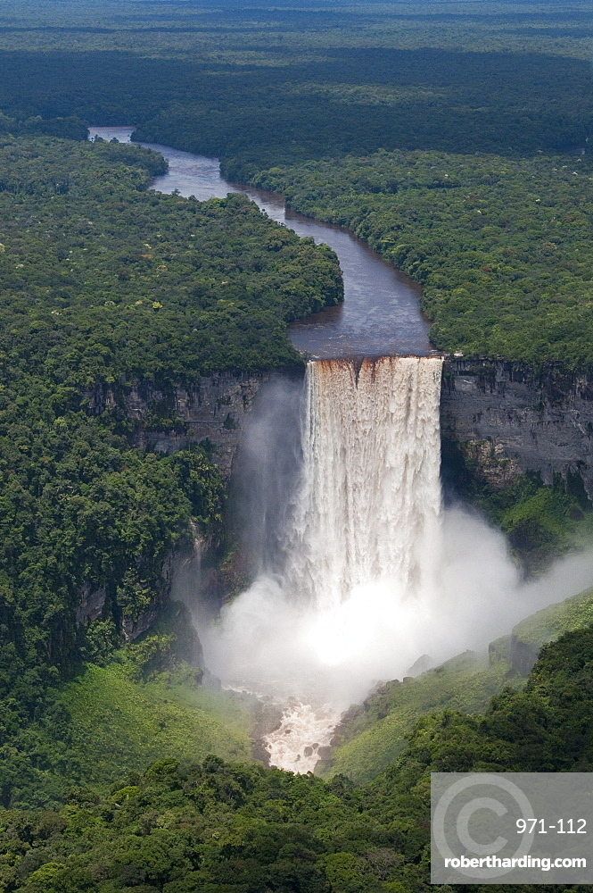 Aerial view of Kaieteur Falls and the Potaro River in full spate, Guyana, South America