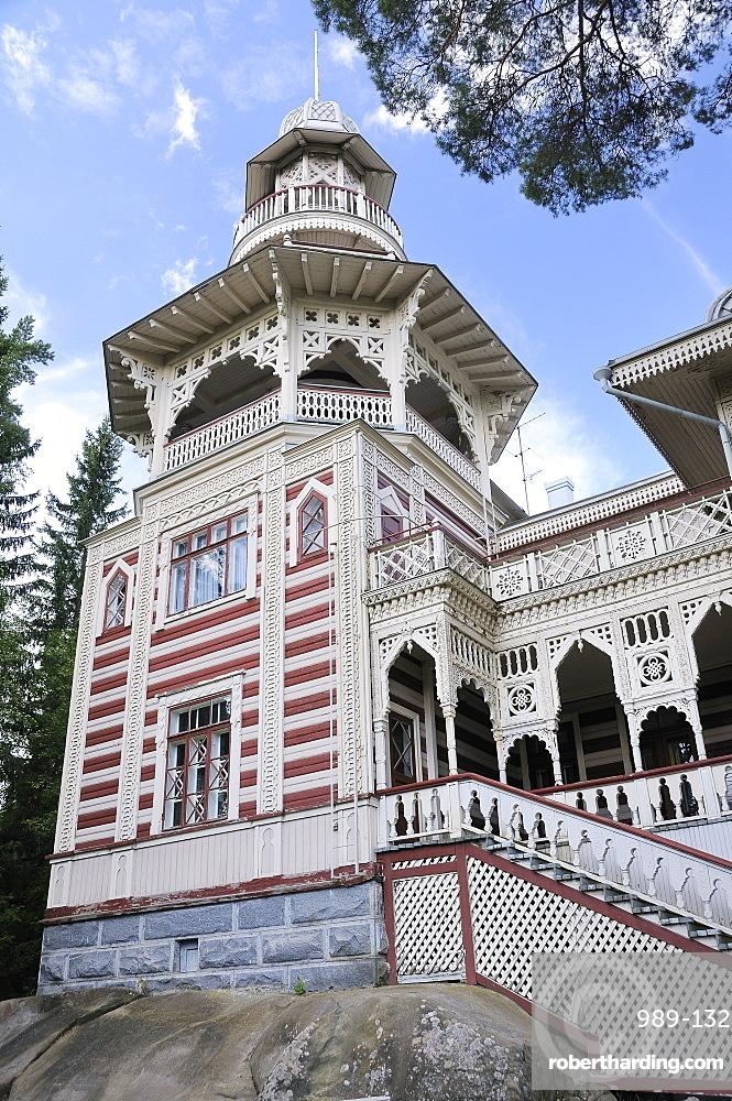 Rauhalinna Villa, built in 1900 in Oriental Russian style, Lehtiniemi village, near Savonlinna, Finland, Scandinavia, Europe
