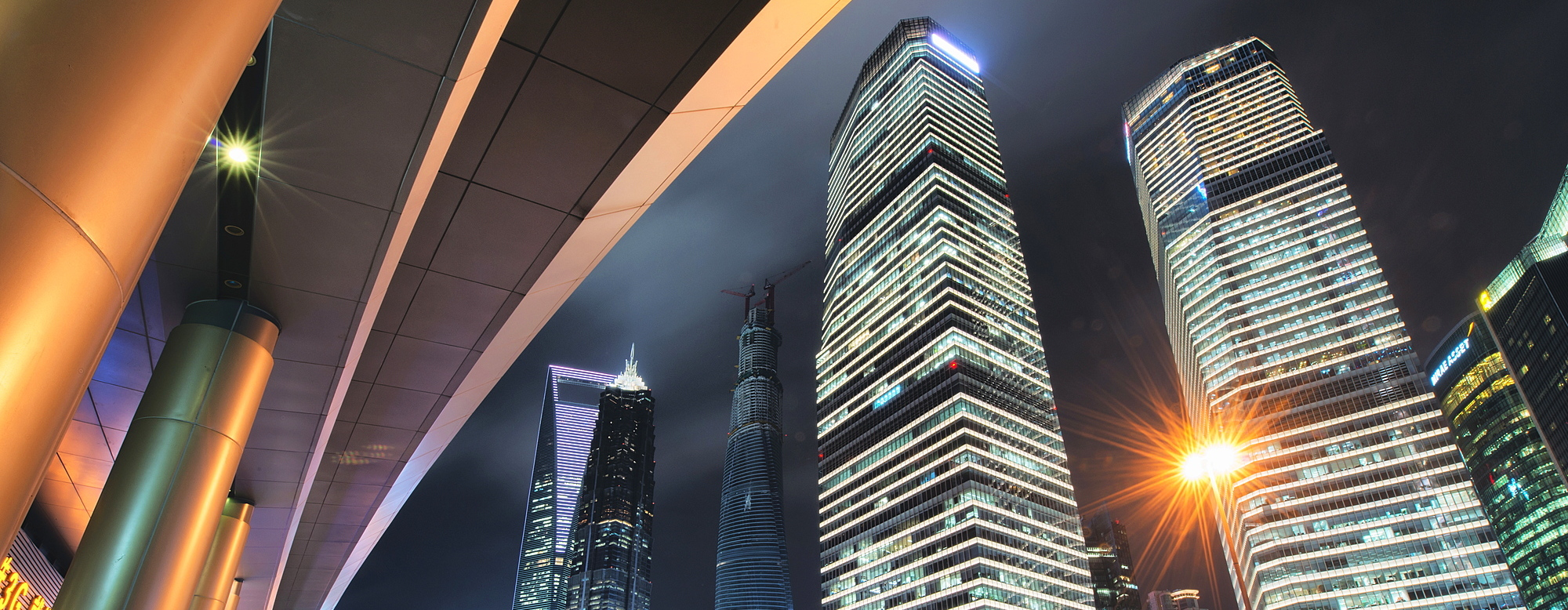 1171-70 ( Andreas Brandl ) - Wide angle view of ultra modern architecture in Shanghai Pudong at night, Shanghai, China, Asia